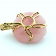 Pre-owned Pink Stone and Yellow Gold Flower Pendant