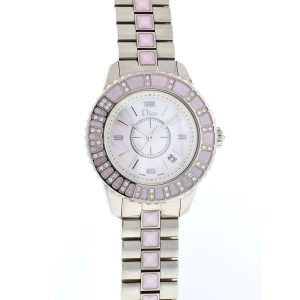 Christian Dior CHRISTAL Stainless Steel Diamond Mother of Pearl Watch