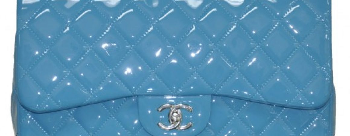 Chanel Classic Flap Blue Patent Leather