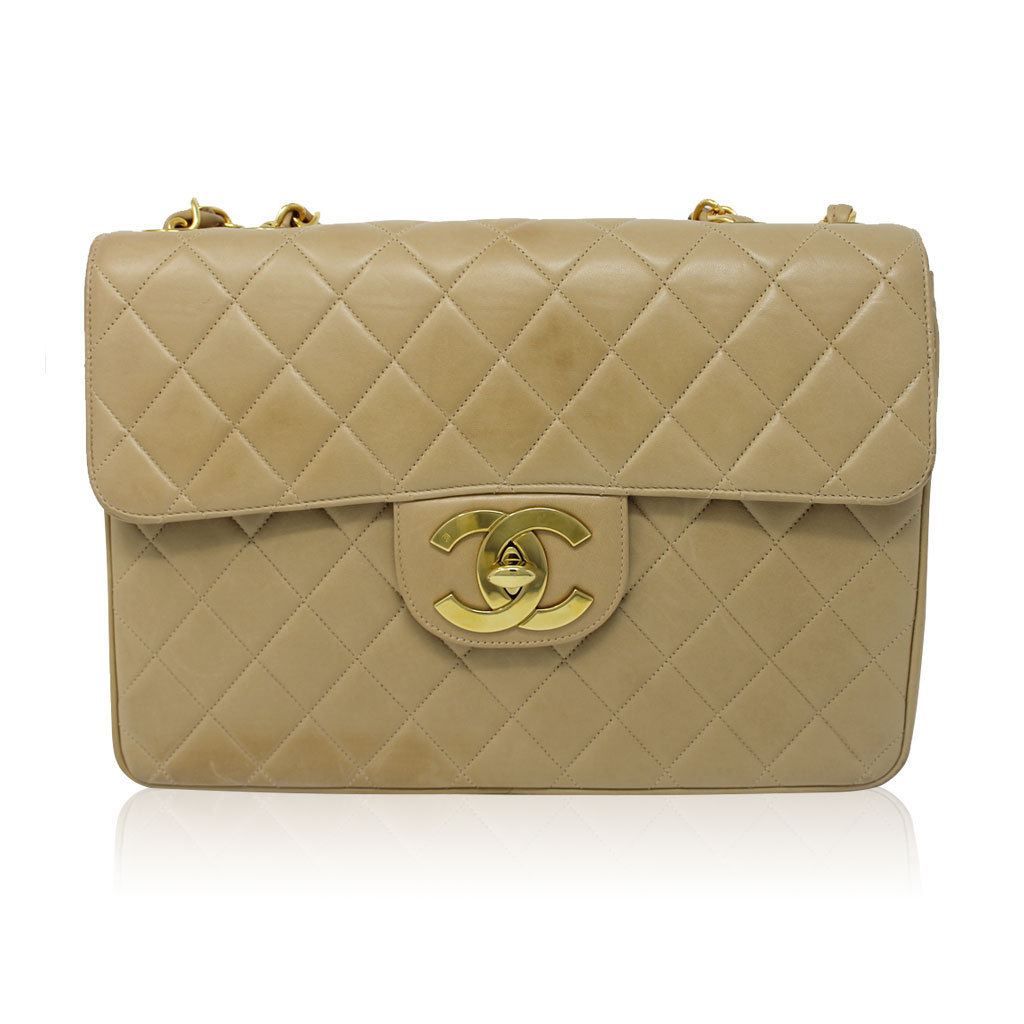 ee800f6dac36 Chanel Beige Tan Vintage Quilted Lambskin Maxi Single Flap Bag GHW No. 3