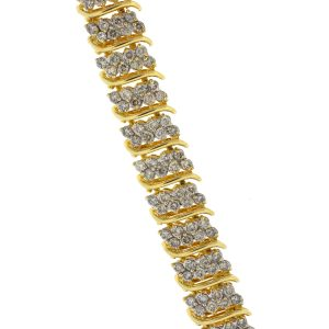 14k Yellow Gold Ladies Diamond Bracelet 6.5cts