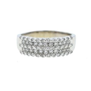14k White Gold Five Row Diamond Ladies Ring