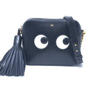 Anya Hindmarch Eyes Black Leather Crossbody Bag