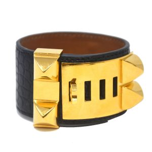 Hermes Black Crocodile Collier De Chien GHW Bracelet