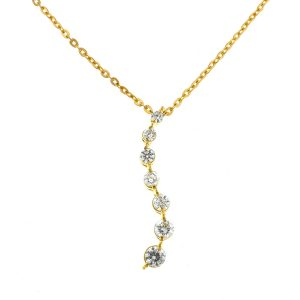 14k Yellow Gold Twisted Diamond Pendant Necklace