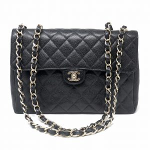 Chanel Jumbo Flap Black Caviar Leather SHW Handbag