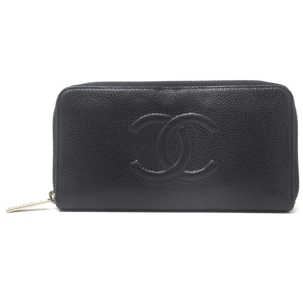 Chanel Timeless CC Black Caviar Zipper Long Wallet