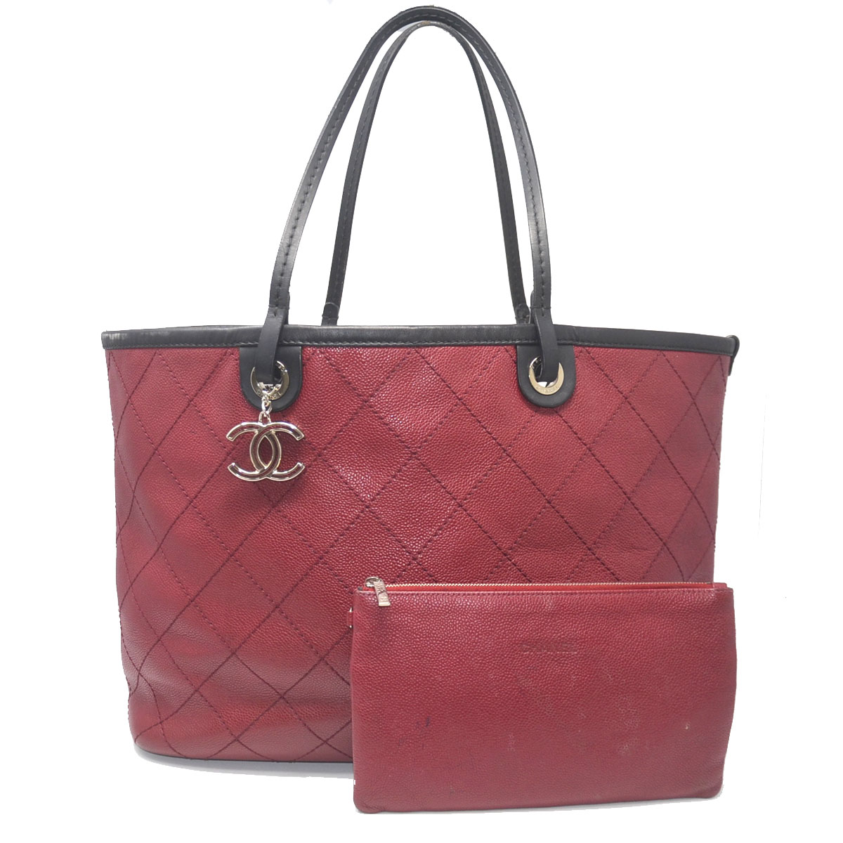 chanel tote red