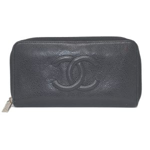 Chanel Black Caviar Zipper Long Wallet