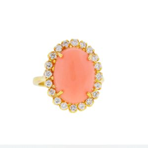 Tiffany & Co. 18k Yellow Gold Oval Coral Stone Ring With Diamonds