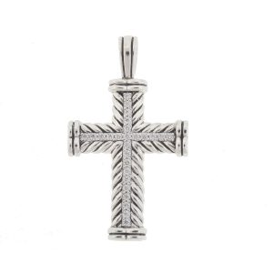 David Yurman Sterling Silver Chevron Cross Pendant With Diamonds