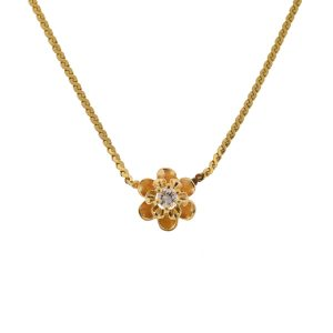 14k Yellow Gold Necklace with Flower Diamond Pendant
