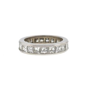 18k White Gold Princess Cut Eternity Band