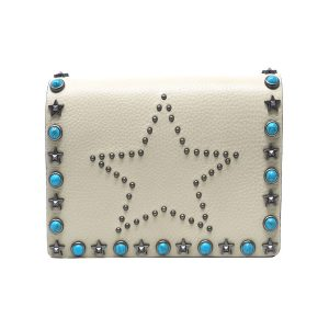 Valentino Rockstud White Leather Handbag Clutch