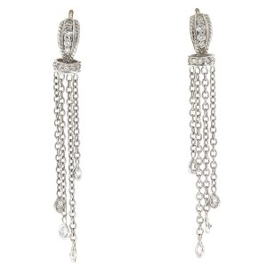 18k White Gold Huggie Diamonds By The Yard Drop Earrings