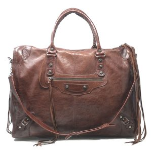 Balenciaga Weekender Brown Classic Studs Leather Handbag