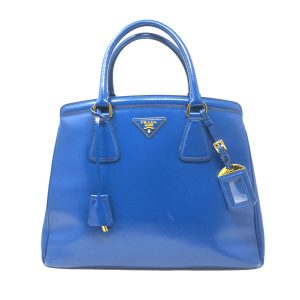 Prada Blue Patent Leather Saffiano Zip Shoulder Bag