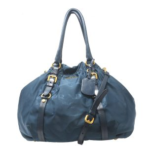 Prada Dark Blue Satin Shoulder bag