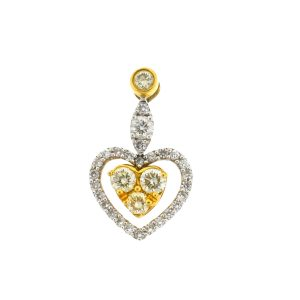 18k Two-Tone Diamond Heart Pendent 1.25 Cts