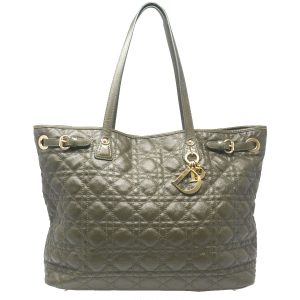 Christian Dior Green Cannage Quilted Coated Canvas Medium Panarea Tote Bag