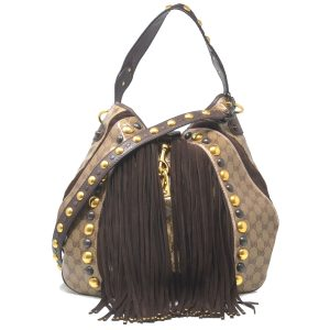Gucci Babushka Hobo Brown Coated Canvas Leather Shoulder Bag