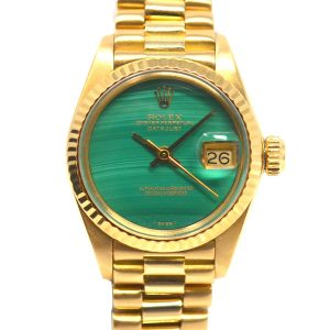 Rolex 6917 18k Yellow Gold Ladies Malachite Dial Datejust President Watch