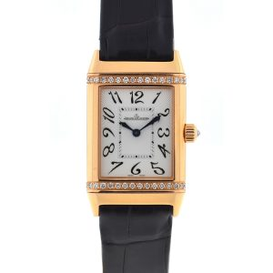 Jaeger Lecoultre 18k Rose Gold Reverso Duetto Diamonds Manual Wind Watch