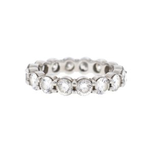 18k White Gold Diamond Ladies Eternity Band Ring 3.75 Cts