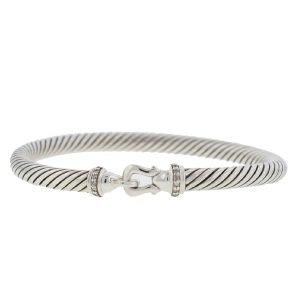 David Yurman Sterling Silver Bangle Bracelet With Diamonds