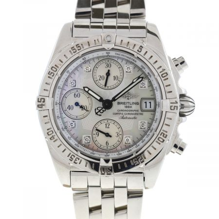 Breitling A13358 Cockpit Chronograph MOP Diamond Dial Stainless Steel Watch