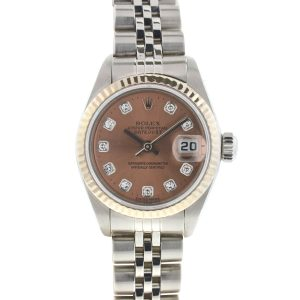 Rolex 79174 Datejust Stainless Steel Pink Salmon Diamond Dial Ladies Watch