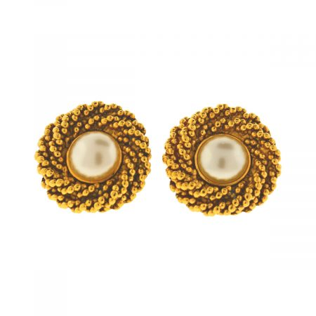 Chanel Gold Tone Faux Pearl Circle Clip Earrings