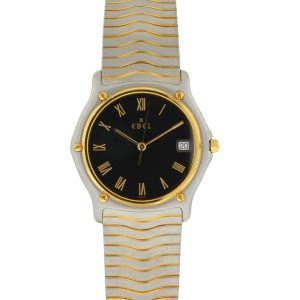Ebel Two Tone Wave Classique Black Dial Watch
