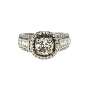 18k White Gold Diamond Engagement Ring 1.55 Cts Tw