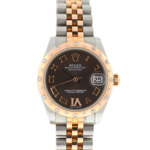 Rolex Brown 178341 Datejust 31 Two Tone Chocolate Dial Midzise Watch