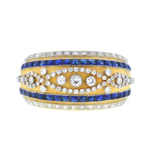 18k Yellow Gold Vintage Diamond Sapphire Wide Bangle 6Cts