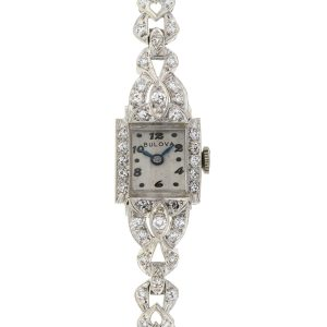 Bulova Vintage 14k White Gold Ladies Diamond Watch 1.00 Cts