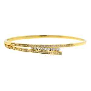 14k Yellow Gold Diamond Bangle Bracelet 1.29 Cts TW