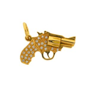 18k Yellow Gold Diamond Gun Revolver Pendant 1.12 Cts TW