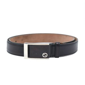Gucci Black Leather Belt with Silver and black Belt Buckle