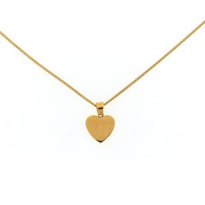 18k Yellow Gold Heart Pendant Necklace