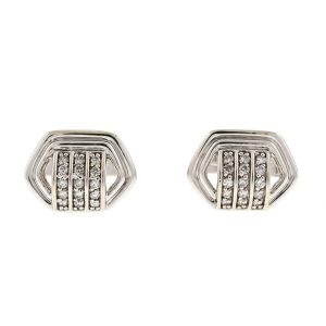 14k White Gold Cufflink With Three Tiny Rows of Diamonds .60 Cts TW