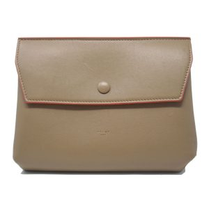 Celine Beige Pouch with Red Trim