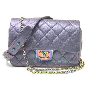 Chanel Iridescent Quilted Small Double Carry Waist Chain Flap Purple Handbag