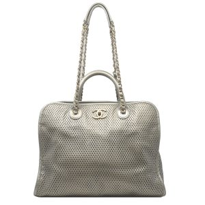 Chanel Gray Metallic GHW Perforated Leather Tote Handbag With Card