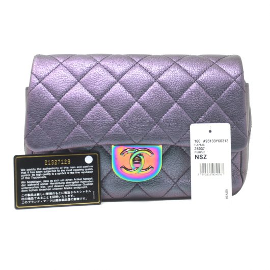 2eb3e7b660a8 Chanel Iridescent Quilted Small Double Carry Waist Chain Flap Purple  Handbag - Boca Pawn