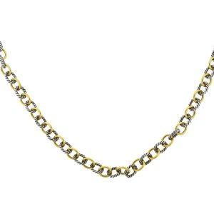 David Yurman Two Tone Interlocking Chain Necklace