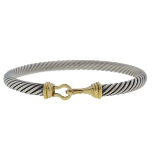 David Yurman Two-Tone Cable Buckle Bangle Bracelet