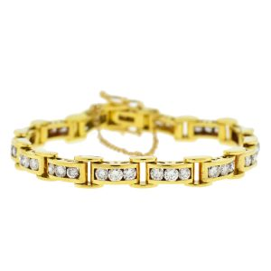 18k Yellow Gold Diamond Channel Set Bracelet Approx 4.5TCW