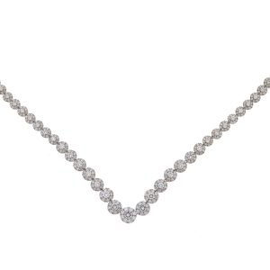 18k White Gold Diamond Flower Multi Stone Ladies Necklace Approx 10.9 TCW